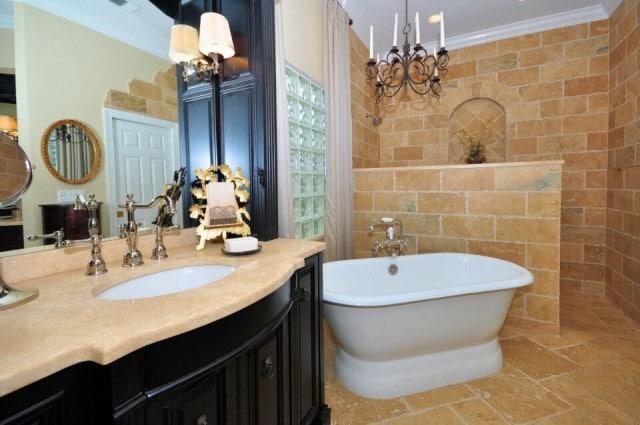 pierre naturelle revetement sol salle de bain