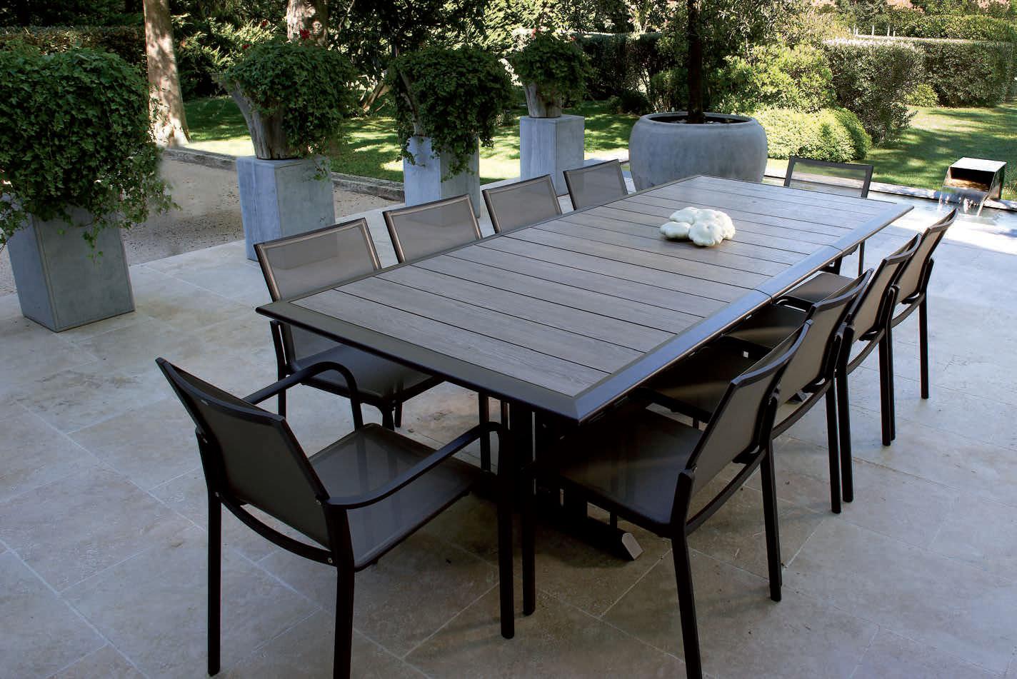 mobilier jardin aluminium et bois
