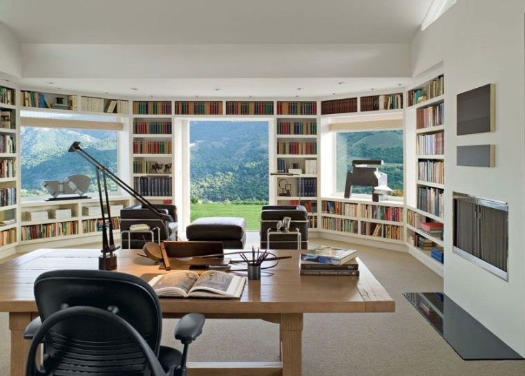 bibliothèque sur mesure arrondie bureau