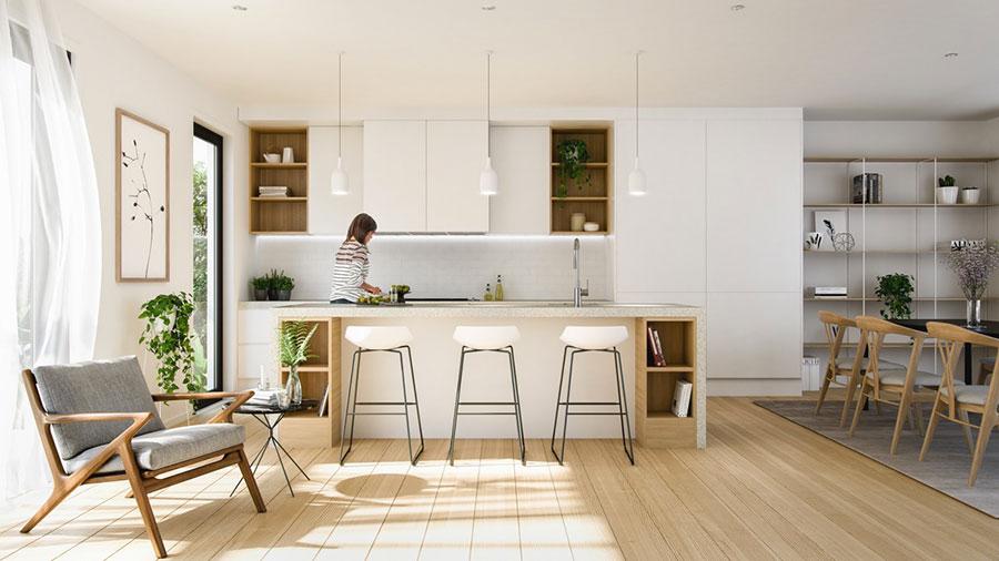 cuisine avec ilot central en bois tendance