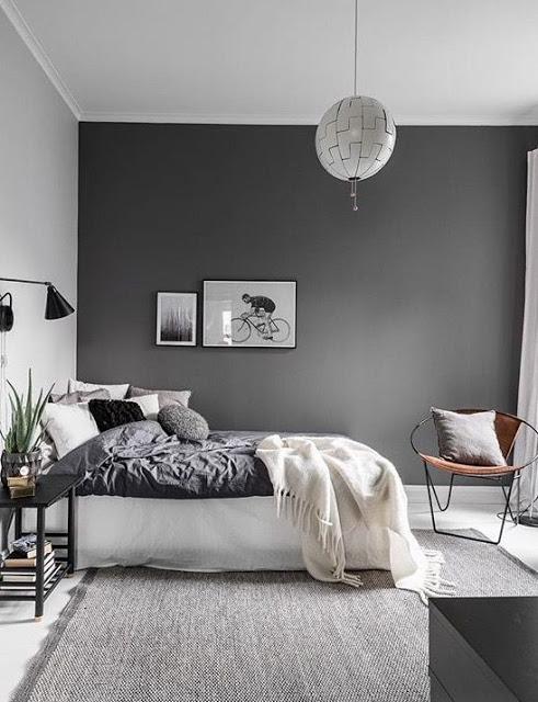 chambre couleur taupe noir et blanc