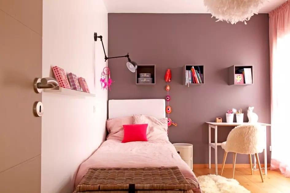 chambre rose poudré et taupe