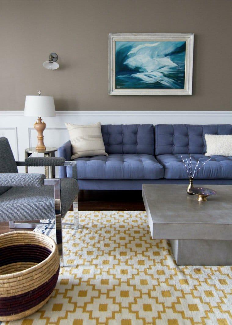 salon couleur taupe et bleu