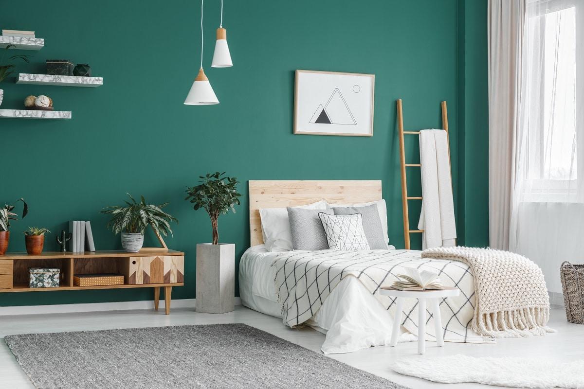 chambre couleur verte