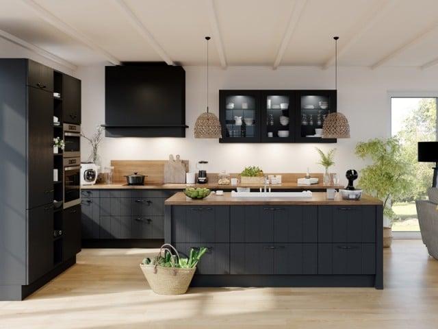 cuisine en noir avec bois